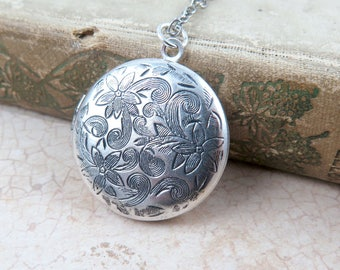 Antiqued Silver Locket Necklace, Personalized Necklace, Initial Necklace, Anniversary Gift, Mother's Locket