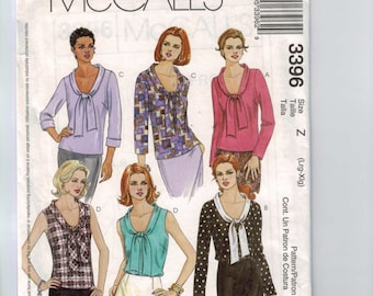 Misses Sewing Pattern McCalls 3396 Misses Tie Neck Scoop Neck Blouse Top Shirt Multisize Size 4 6 8 10 12 14 16 18 20 22 UNCUT