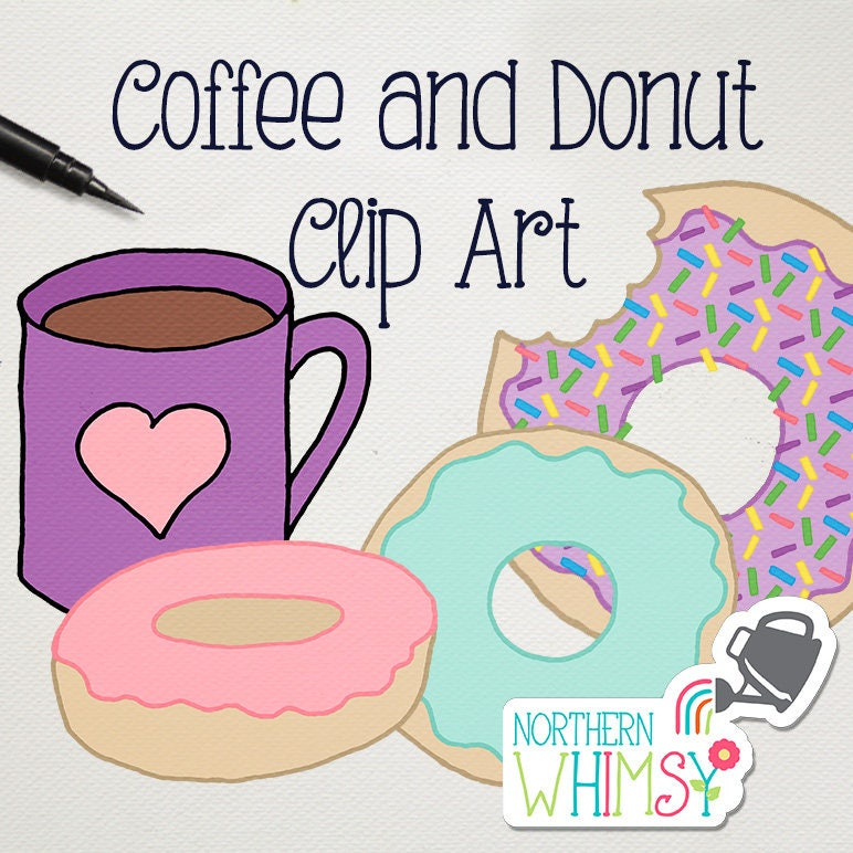 Coffee and Donut Clip Art Set pink aqua and lavender food