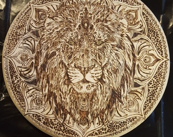 Woodburned Lion Head