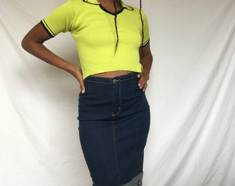 90s stretch denim pencil skirt with feont split