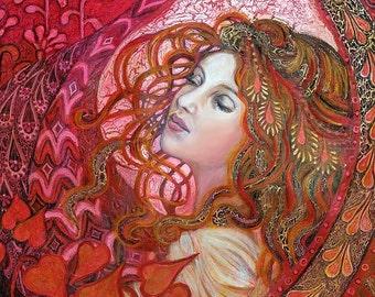 Aphrodite Art Nouveau Goddess of Love ACEO Mini Print Altar Art Pagan Mythology Psychedelic Bohemian Gypsy Goddess Art