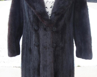 BLACK MINK! Size Large! Full-Length  EXCELLENT