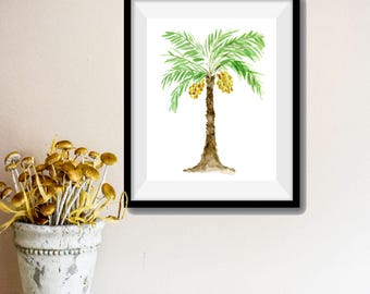 Palm Tree art print, palm tree watercolor print, Green, brown, Yellow, tropical print, Mediterranean, Date Tree art, trees of the bible