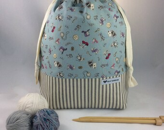 Large Knitting Project Bag, Drawstring Bag, Work in Progress Bag, Canvas Bag. Wonderland Accessories & Gray Stripes