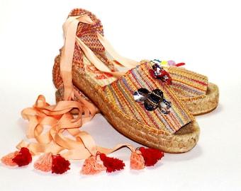 Platform lace up espadrilles Luxury   Multicolored burlap fabric    Organic tissue   Alpargatas made in Spain
