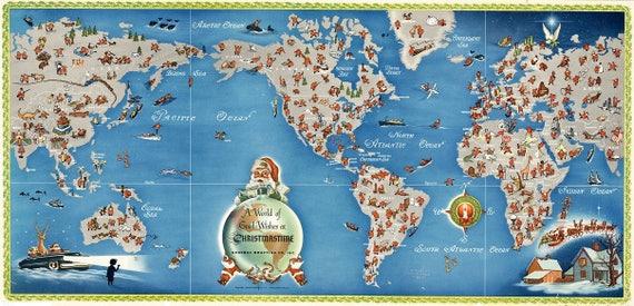 Digital modern merry christmas world map printable download digital modern merry christmas world map printable download large world map printable map high resolution world map christmastime santa publicscrutiny Images