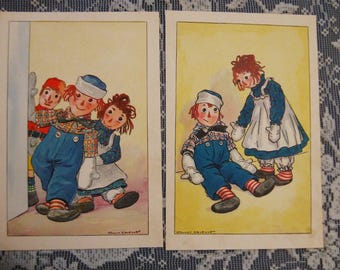 2 Johnny Gruelle Raggedy Andy and Ann Original 1920 Book Page Prints - How Raggedy Andy Came