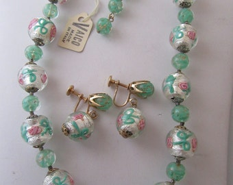 Vintage Mint Green Venetian Glass Beads with matching Earrings