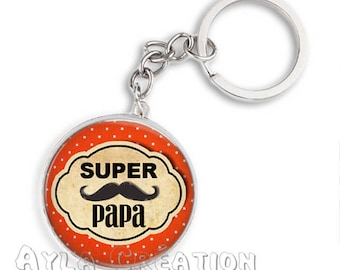 Cabochons glass 25mm #PA_BP12a dad keychain