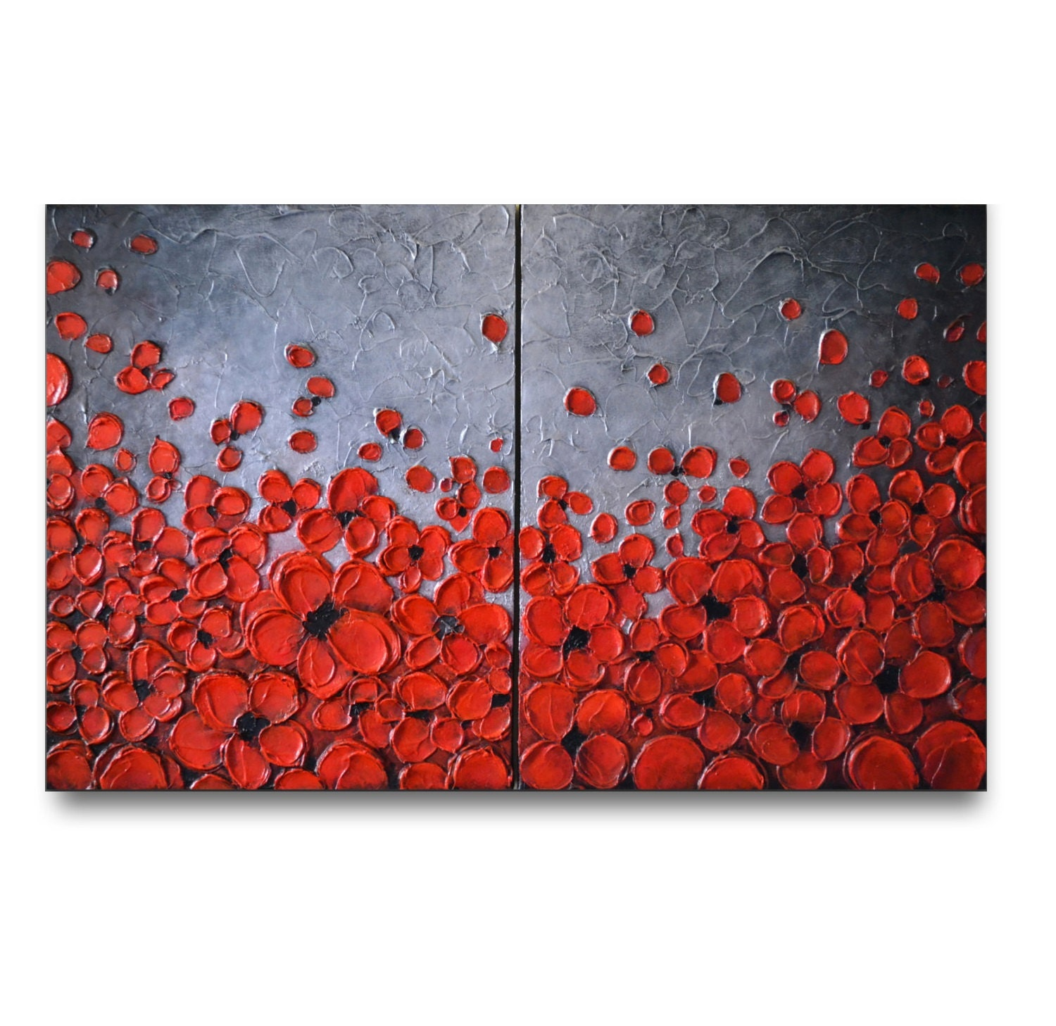 Red abstract flower painting original abstract painting for Red canvas painting ideas