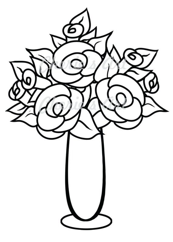 Line Art Flower Vase Digi Stamp Digi Stamp Digital