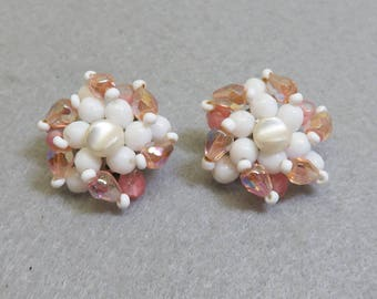 Pink Crystal and White Glass Beaded Clip On Earrings