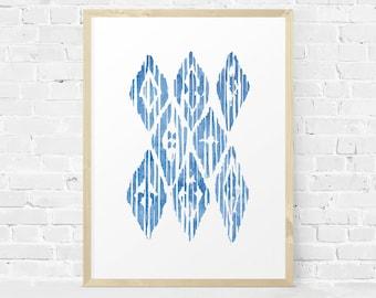 Aztec Wall Art, Aztec Printable, Geometic Art Print, Tribal Digital Print, Bright Blue Watercolor Print, Minimalist Wall Art