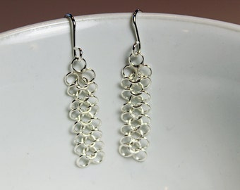 Earrings 4 in 1 Micro Chain Maille Sterling Silver