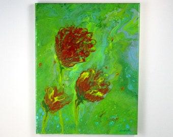 Roses, Wind Blowing, Acrylic Pour, Fluid Art, Pour Painting, Fluid Acrylic, Original Painting, Canvas Art, Impressionism, Floral Art