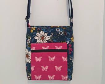 Floral Hipster Bag - Two Zip Hipster - Crossbody bag - Sling Bag - Bag with pockets - Zipped Handbag - Handmade Bag -  Holiday Bag