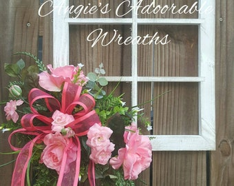 Window Floral Arrangement- Floral Deco- Farmhouse Decor- Summer Wreath- Spring Window - Flower Window
