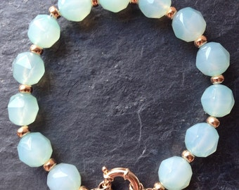 Chalcedony and rose gold plated sterling silver bracelet