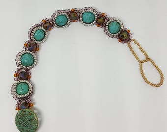 Turquoise with Amethyst, Topaz and Silver Bracelet