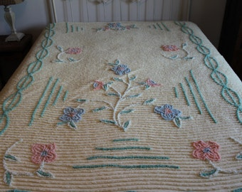Pale Yellow Floral Chenille Bedspread, Flower Bouquet Design, Vintage, Small Holes & Stains