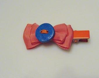 hair bow orange polymer clay button