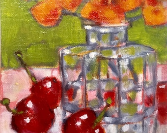 Still life with cherries, small semi-abstract oil painting, contemporary art, 7 x 5 inches
