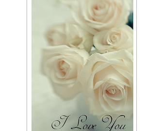 Anniversary Card, White Roses Card, Anniversary Card, Mother's Day Card, Blank Card, Photo Card, Rose Greeting Card