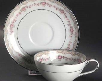 """Teacup andSaucer Noritake China """"Glenwood"""" 5770 Pattern"""
