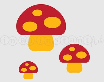 Mushrooms Vinyl Wall Decal for a Woodland or Forest Friends Nursery, Kids, Childrens Room 535