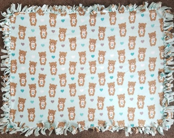 Parent and Baby Teddy Bears Snuggling With Hearts Fleece Tie Blanket