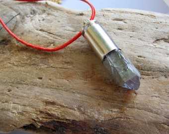 Siver Titanium Point in silver bullet - Necklace - OOAK -Crystal