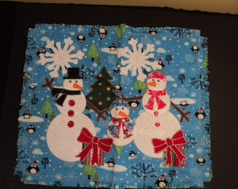 Die Cut Applique. Snow Family Shapes on Penguin Flannel.   Pillow/Candle Mat/Table Centerpiece/Doll Quilt.  Fusible(Iron On)