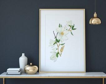 Magnolia Blossom Flower Branch Garland Watercolor Wall Art Print, Wall Decor, Printable, Instant Digital Download