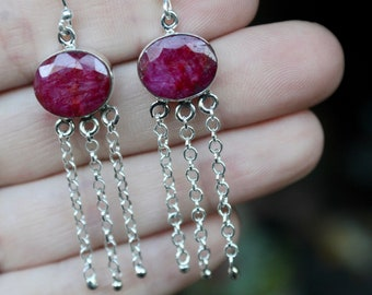 Ruby Stone Earrings, Sterling Silver Ruby Earrings, 925, July Birthstone, Faceted Ruby Earrings, Dangles, Natural Ruby Stone, Gift for her