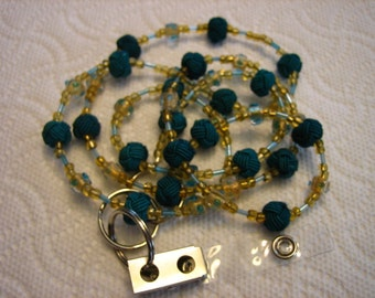 712 Teal woven glass handmade beaded id badge lanyard