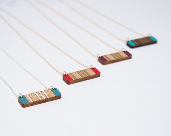 Wood Necklace, Lines Necklace, Geometric Necklace, Layering Necklace, Bar Necklace, Laser Cut Wood, Gifts under 50, Gift for her