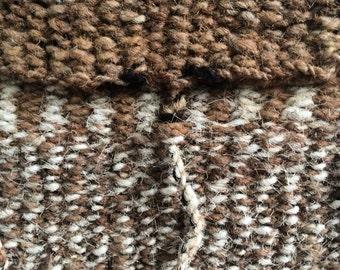 vintage rustic hand woven purse w. unique triple thong closure
