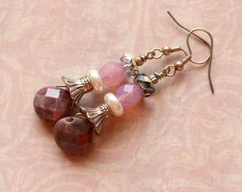 Pink Earrings, Rhodonite Earrings, Stacked Earrings, Silver Earrings, Crystal, Pearl, Gemstone Jewelry, SRAJD, Gift for Her