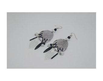 Long earrings metal and glass beads ~ black & white ~
