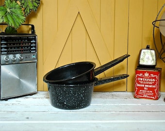2 Vintage Black Enamel Pot Set Camping Enamelware Camp Fire