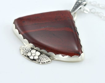 Red Agate Pendant Necklace - Sterling Silver, Fine silver, Bezel, Hand Forged, Soldered, Metalwork, Silversmith