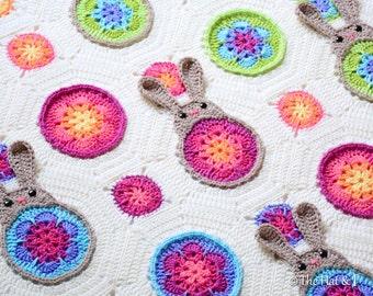 """Crochet Blanket PATTERN - Bunnies """"R"""" Us - crochet pattern for colorful bunny baby blanket, crochet afghan pattern - Instant PDF Download"""