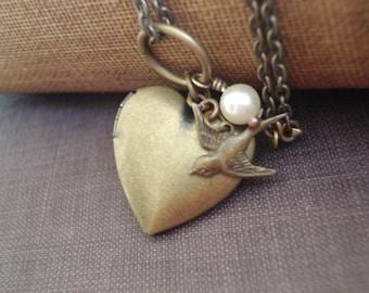 Heart Locket Necklace Heart Necklace Brass Heart Locket Bird Heart Locket Bird and Pearl Necklace Jewelry Vintage Jewelry
