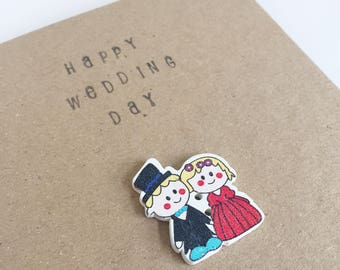 Happily Ever After - Wedding Button Card - Celebration - Snail Mail