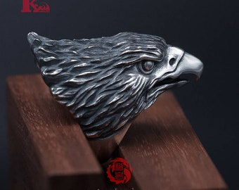 Sterling Silver 925 Eagle Ring, with Aged Finish, Oxidized Silver, Songyan Jewelry