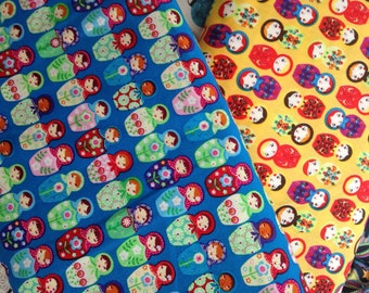 New 100% Cotton Fabric With Babushka Print In Blue And Yellow Color