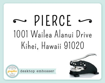 Embosser - PIERCE Style - Desk Model - Personalized Return Address - Embossing Stamp Seal - Wedding Housewarming Gift