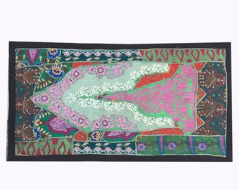 Indian Sari Patchwork Wall Hanging,Handmade Bohemian Embroidered Tapestry India