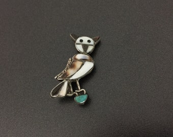 Vintage Southwestern Sterling Silver Jet MOP Turquoise Shell Owl Pin Brooch